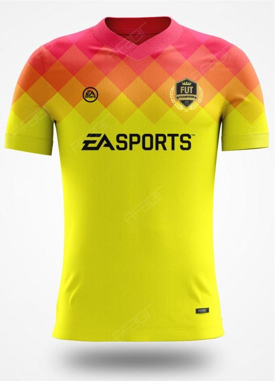 Camisa Fut Champions Elite Edition Amarela e Rosa Degradê