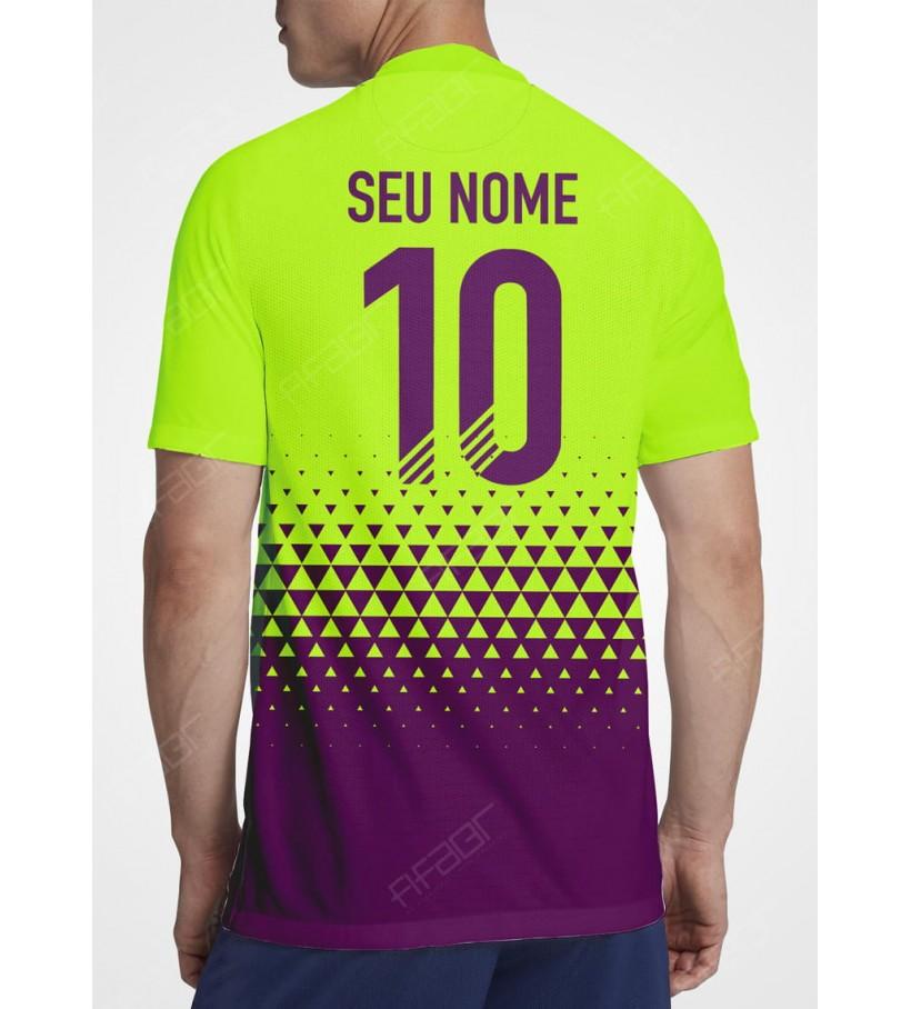Camisa Fut Champions Gold Edition Verde Florescente e Roxo