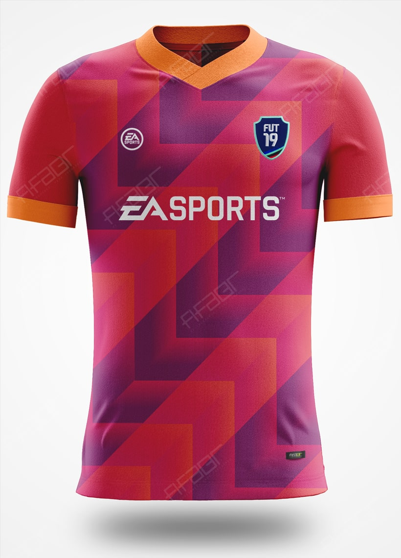 Camisa Ultimate Team Dev Edition Laranja e Rosa com Tons de Azul Escuro
