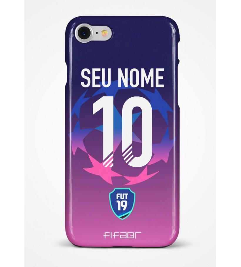 Capinha Fut 19 Champions League Azul e Rosa Degradê - Com Personalização - Selecione o Modelo