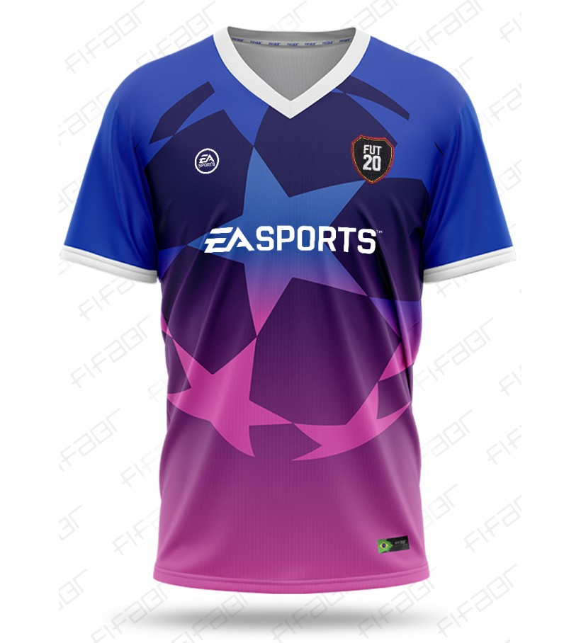 Camisa Ultimate Team Champions League Azul e Rosa Degradê