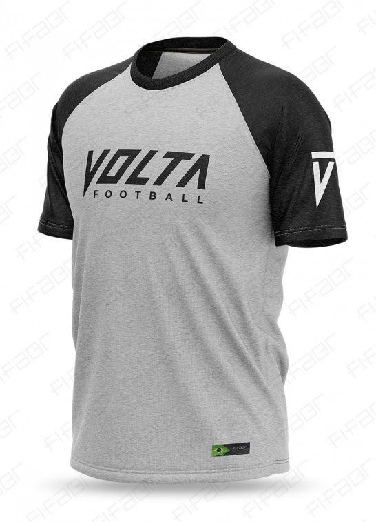 Camisa Casual Reglan Cinza e Preta Volta Football - [Estoque limitado, Aproveite!]
