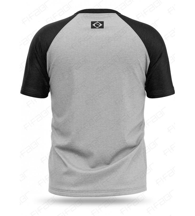 Camisa Casual Reglan Cinza e Preta FIFABR - [Estoque limitado, Aproveite!]