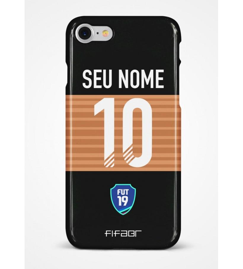 Capinha Fut Champions Bronze Edition Preta e Bege - Com Personalização - Selecione o Modelo