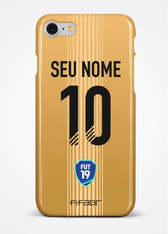 Capinha Fut Champions Gold Edition Bege - Com Personalização - Selecione o Modelo