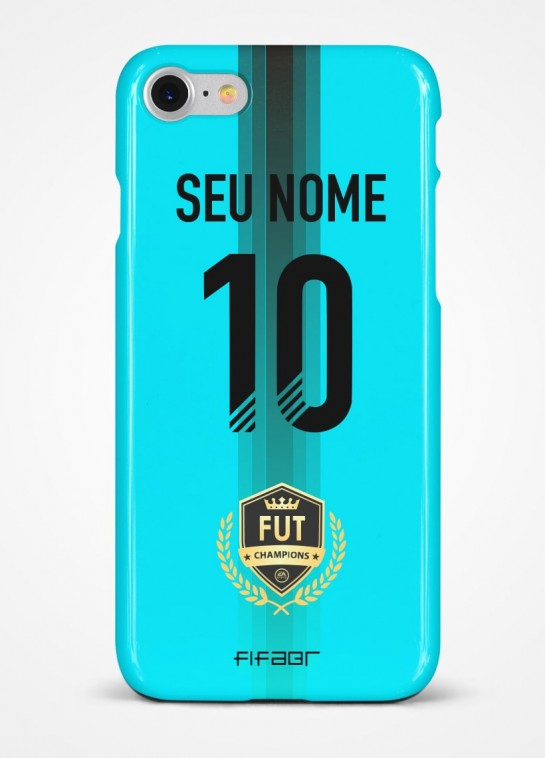 Capinha Fut Champions Azul Claro com Detalhe em Preto - Com Personalização - Selecione o Modelo