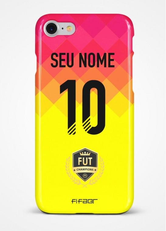 Capinha Fut Champions Amarela e Rosa Degradê - Com Personalização - Selecione o Modelo