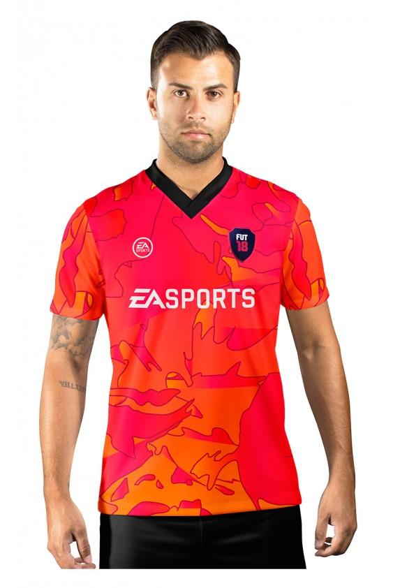 Camisa Ultimate Team Fut 18 Vulcano Vermelha e Laranja