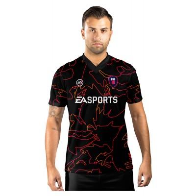 Camisa Ultimate Team Fut 18 Vulcano Preta e Vermelha