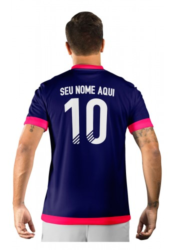 Camisa Ultimate Team Fut 18 Arrows Azul Marinho e Rosa