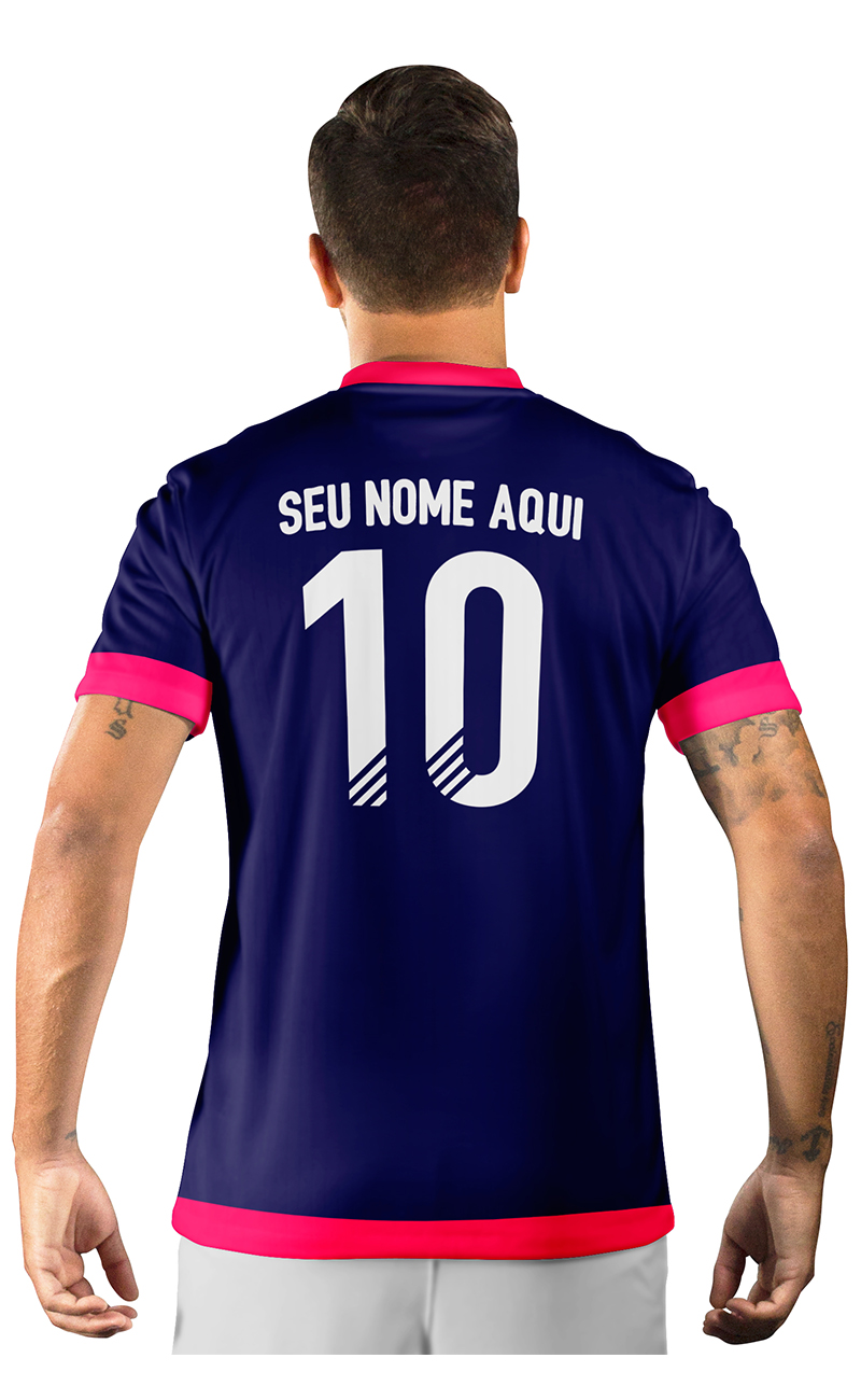 Camisa Ultimate Team Fut 18 Arrows Azul Marinho e Rosa