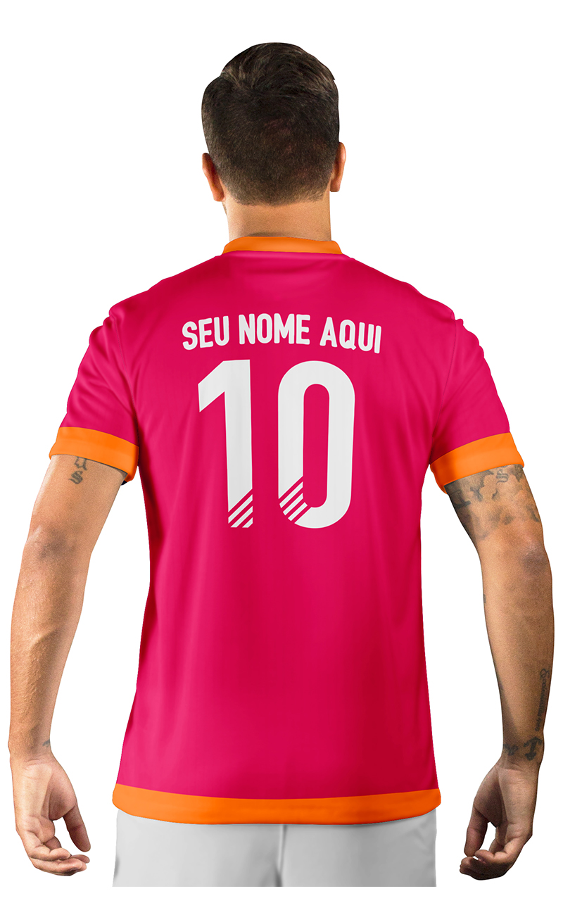 Camisa Ultimate Team Fut 18 Arrows Laranja e Rosa com Tons de Azul Marinho