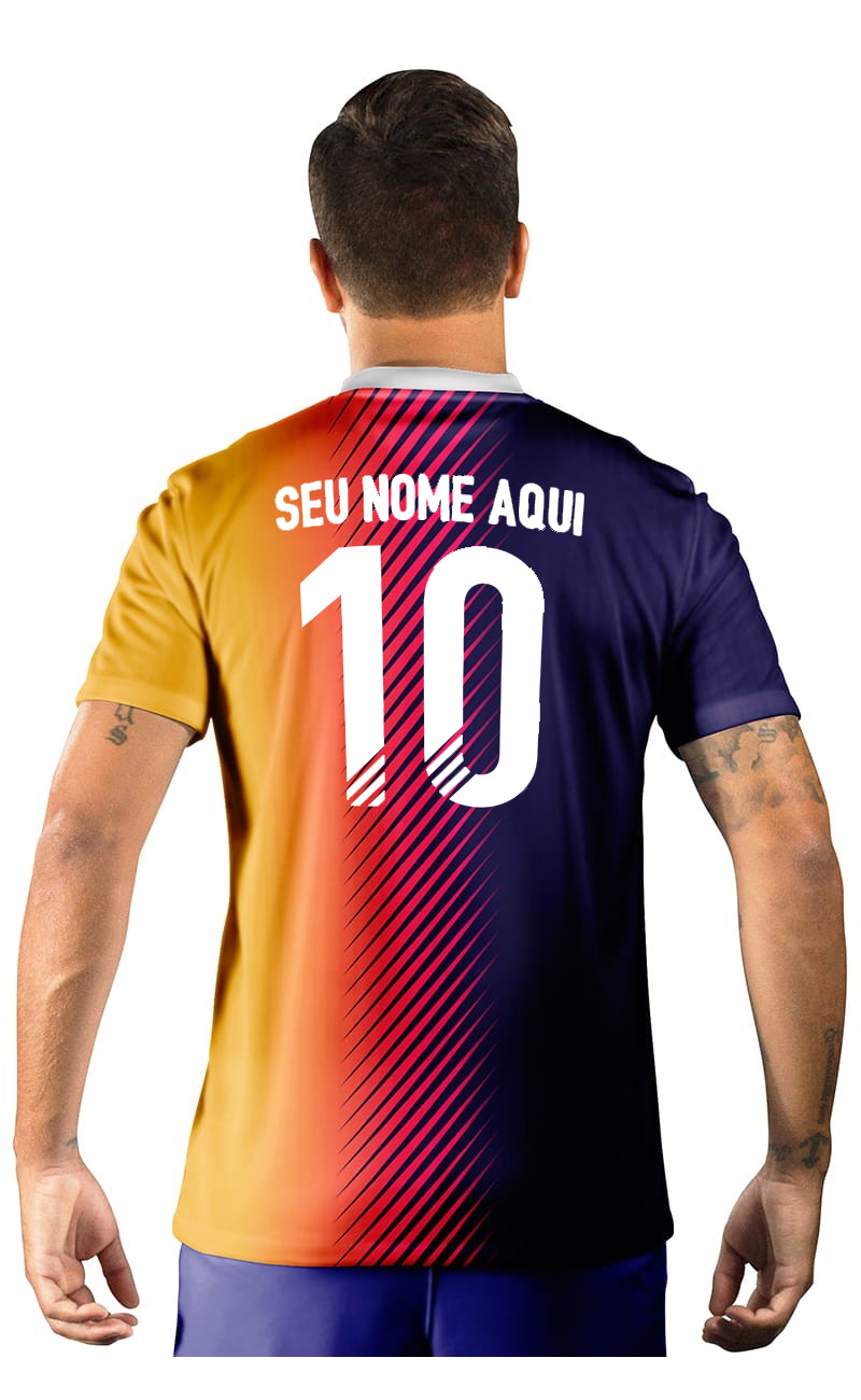 Camisa Ultimate Team Fut 18 Amarela e Roxo Degradê