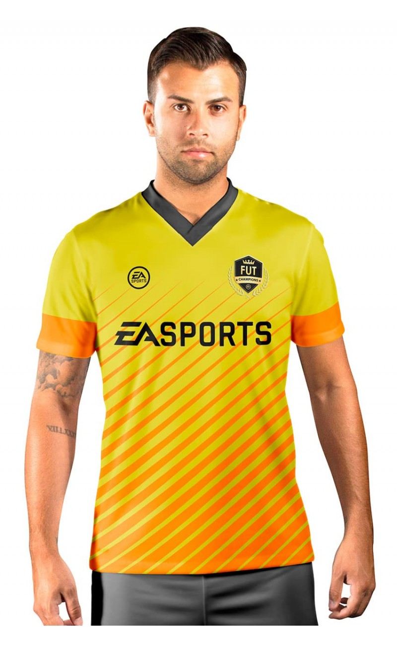 Camisa Fut Champions Ultimate Team FIFA 17 Amarelo e Laranja