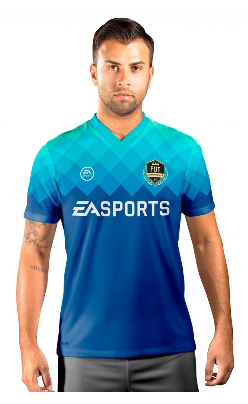 Camisa Fut Champions Ultimate Team FIFA 17 Azul degradê