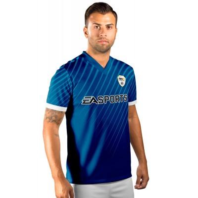 Camisa Fut Champions Ultimate Team FIFA 17 Azul TOTS + Emblema em relevo