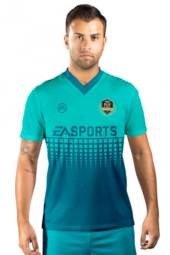 Camisa Fut Champions Ultimate Team FIFA 17 Tons de Azul e Verde