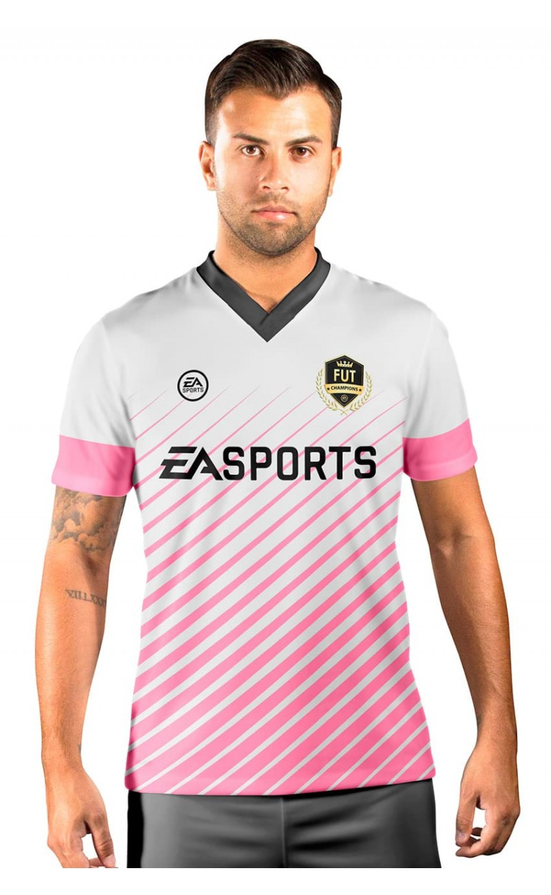 Camisa Fut Champions Ultimate Team FIFA 17 Rosa e Branco