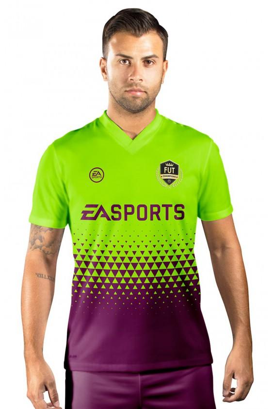 Camisa Fut Champions Ultimate Team FIFA 17 Verde Florescente e Roxo