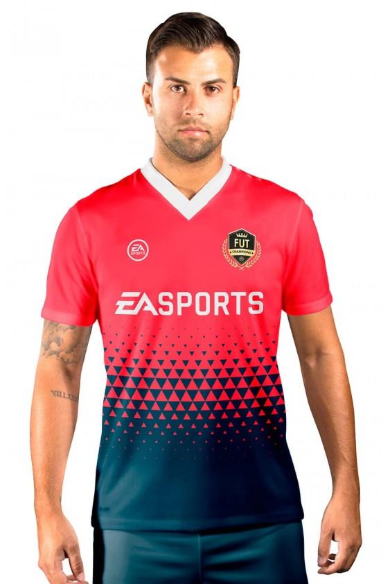Camisa Fut Champions Ultimate Team FIFA 17 Vemelha e Azul Marinho